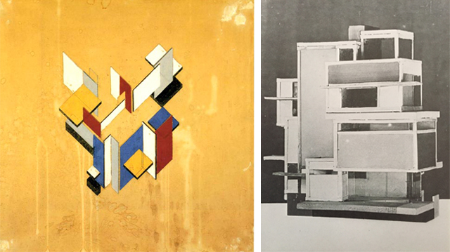 Contra-constructie, Theo van Doesburg, 1923, and model La Maison d'Artiste, Theo van Doesburg in collaboration with Cornelis van Eesteren, 1923