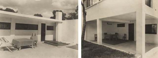 De atelierwoning bij de oplevering, eind 1930. Het dakterras en het terras met toegang naar de keuken (foto rechts).