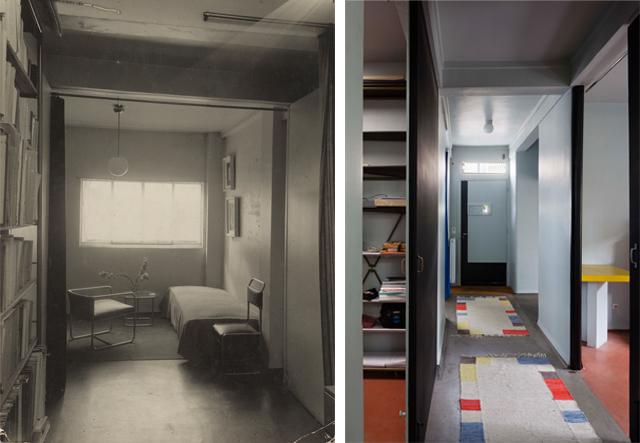 Links: slaapkamer, jaren dertig, rechts: de benedengang, situatie 2012 (foto Hervé Abbadie)