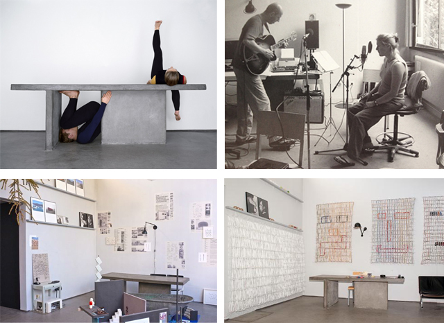 Clockwise from left top: homage to Theo and Nelly door Ilse Leenders (2005), Marc van Vugt and Ineke van Doorn at work in the studio (2001-2003), installation of Lam de Wolf (2009), exhibition of Jean Bernard Koeman (2014).