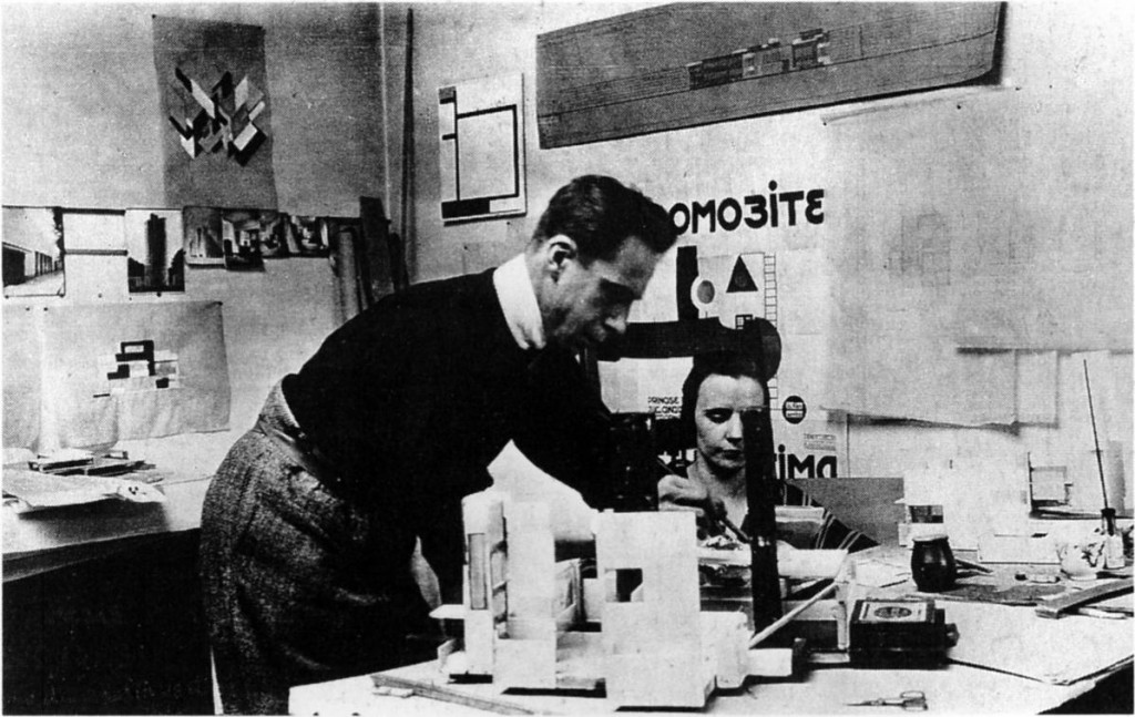 Theo and Nelly working on the model of La Maison Particuiere, Paris, 1923.esburg_1923