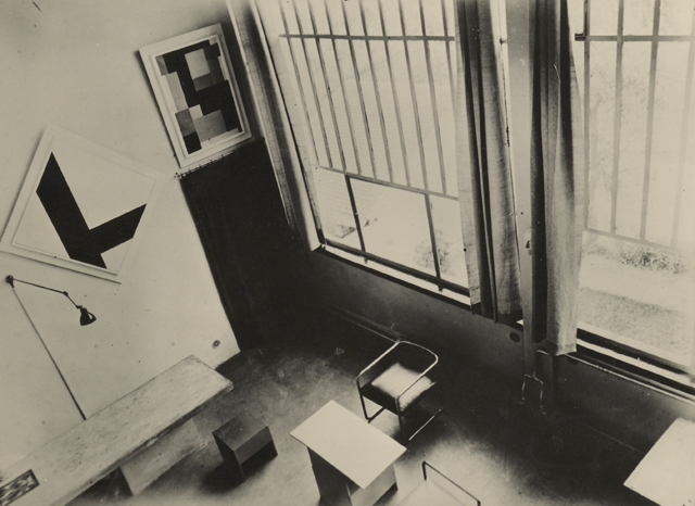 The studio, seen from above with fixed concrete table, 1930s.