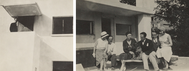 On top: Theo at the front door and Theo and Nelly with friends on the roof terrace, winter, 1930. Below: Nelly at the studio, spring 1931.