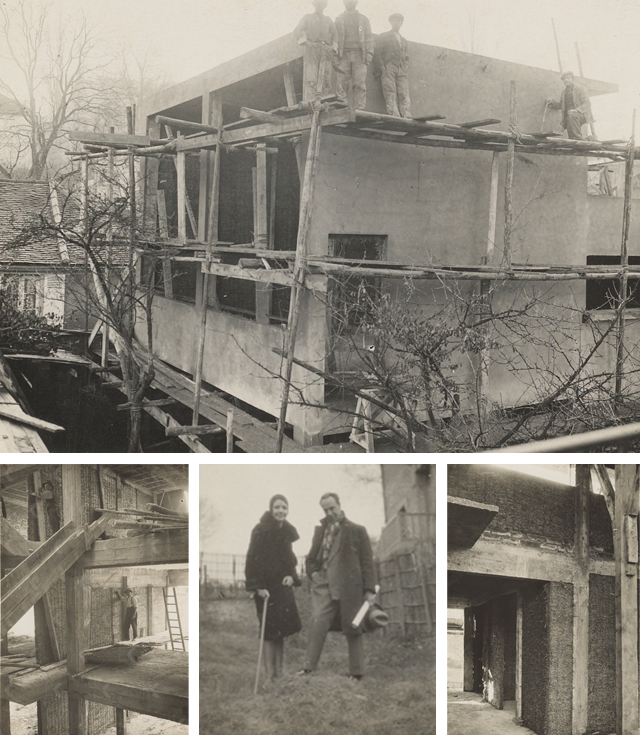 The studio-house under construction and Nelly and Theo at the building site, 1930.