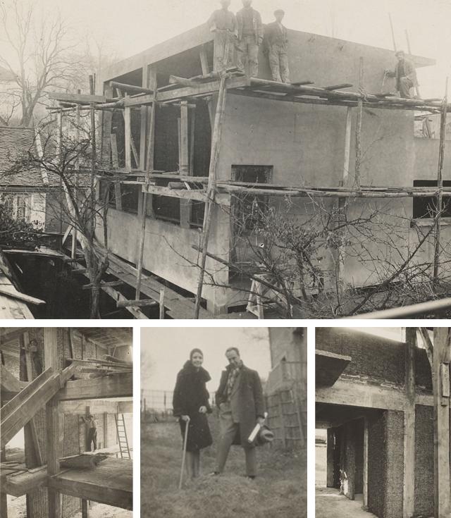 Atelierwoning in Meudon in aanbouw, 1929. De woning bestaat uit samengeperste stroplaten in een betonstructuur