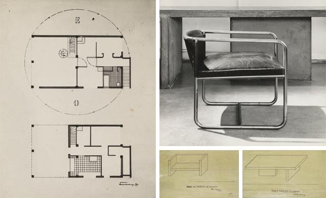 Plattegrond begane grond en eerste verdieping, situatie 1929 (links). Foto en ontwerptekeningen stoel en tafel in atelier.