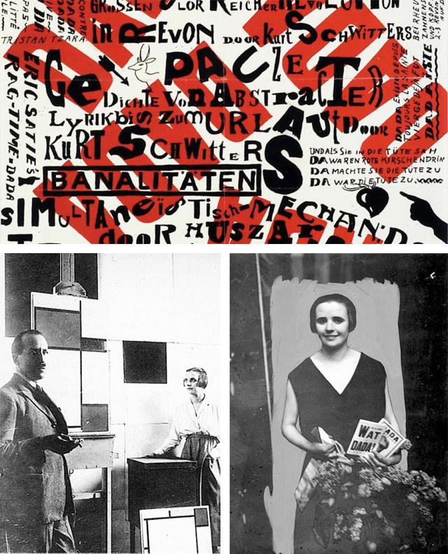 Programma Dada Soirée, ontwerp Theo van Doesburg,1923 (foto boven). Nelly in atelier Piet Mondriaan (foto linksonder). Nelly met programma's Dada bijeenkomsten.