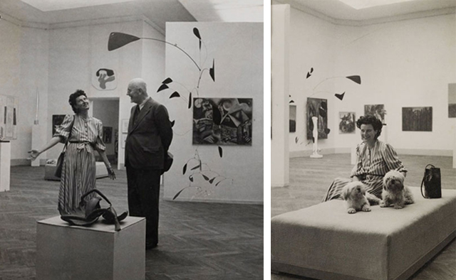 Peggy Guggenheim and Lionello Venturi in her pavilion at he Biennial in Venice, 1948.