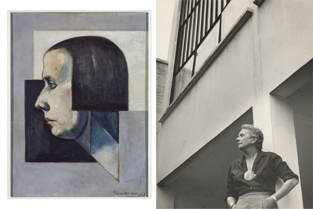 Nelly portrayed by Theo van Doesburg, around 1922 and Nelly at the back of the house, year unknown