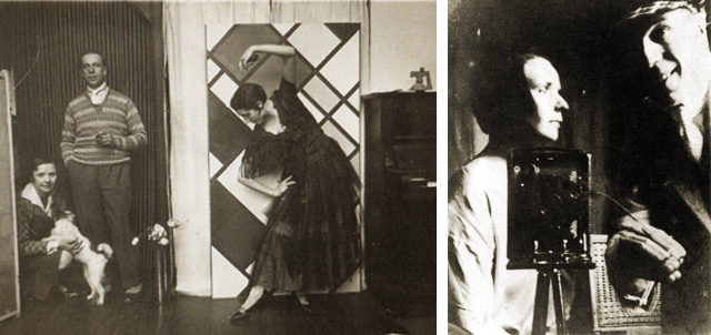 Dancer Kamares at Theo and Nelly's studio in Clamart, 1925 and Nelly and Theo at the studio of Piet Mondriaan, 1921.